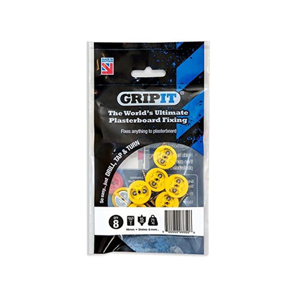 Gripit Fixings Pack of 8 - 4.0 x 25mm Yellow    152-258