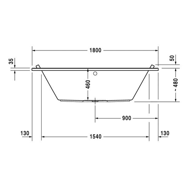 Duravit Starck White Bath 1800 x 800 mm Built-In Version Incl. Feet   700208000000000 / 700349000000000