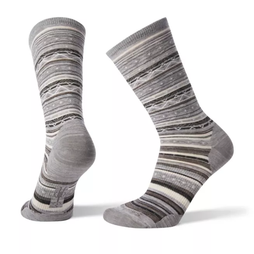 Light gray striped sock made with Merino wool by Smartwool.