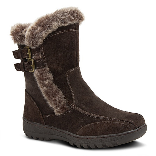 Water resistant suede pull on ankle boot with faux fur lining.