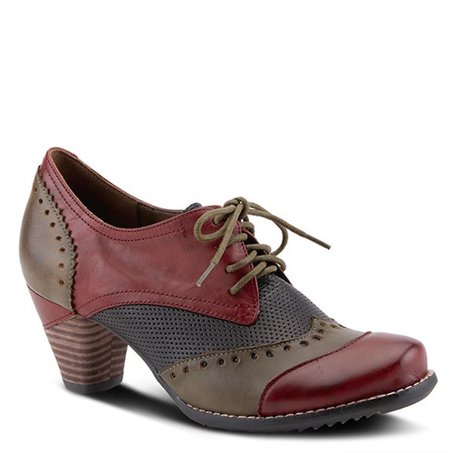 Dark red multi derby oxford with hand painted and perforated leather.