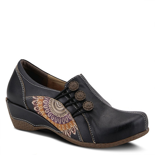 Black hand painted leather loafer with embossed design.