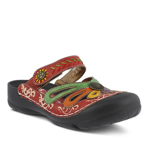 Hand painted red leather clog with water friendly toe cap.
