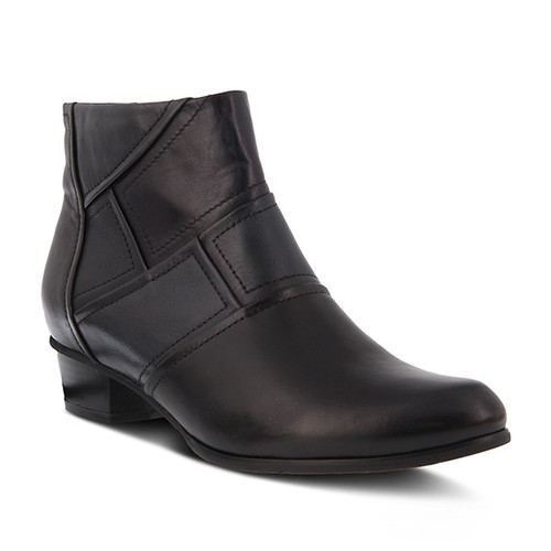 Black polished leather bootie with color blocking design and stacked heel.