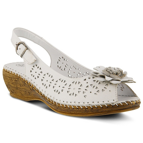 White perf leather peep toe wedge with tonal leather flower .