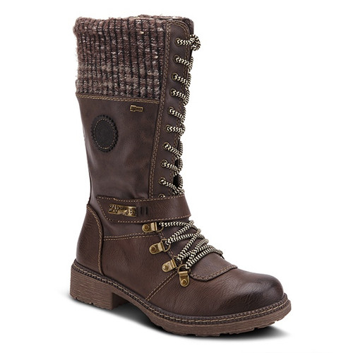 Taupe water resistant vegan leather boot with knitted shaft.