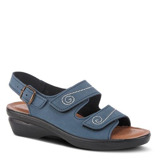 Navy nubuck leather sandal with spiral pattern.