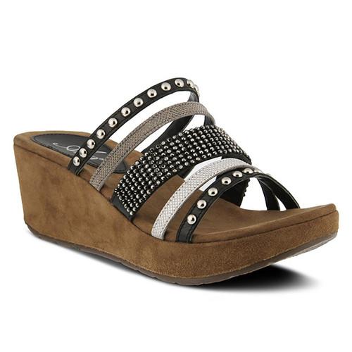 Black and White rhinestone and studded slide sandal.