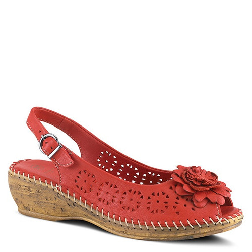 Red perf leather peep toe wedge with tonal leather flower .