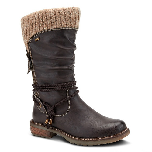Dark brown vegan leather pull on boot with decorative zipper.
