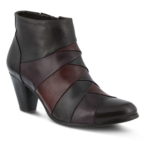 Brown multi patchwork bootie with color blocking.