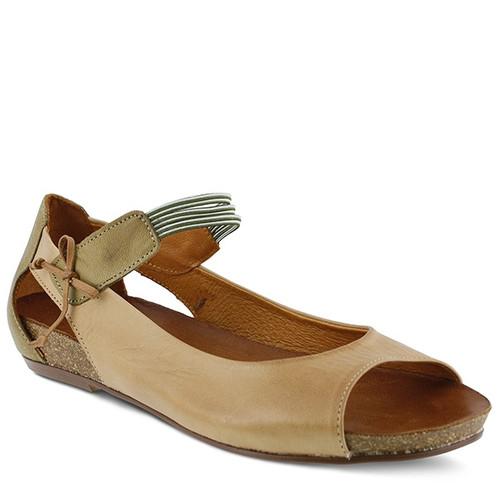 Camel peep toe mary jane flat with bow detail.