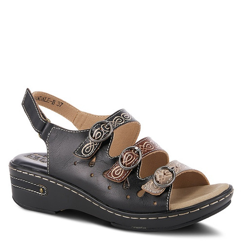 Black multi color hand painted leather sandal with embossed design.