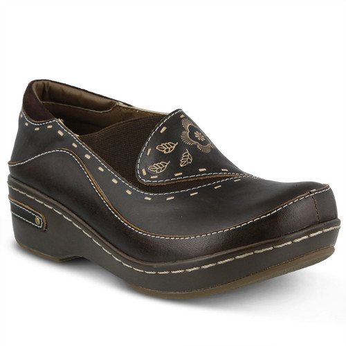 Brown hand painted closed back clog with embossed floral design.