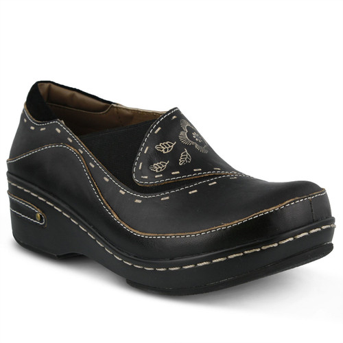 Black hand painted closed back clog with embossed floral design.