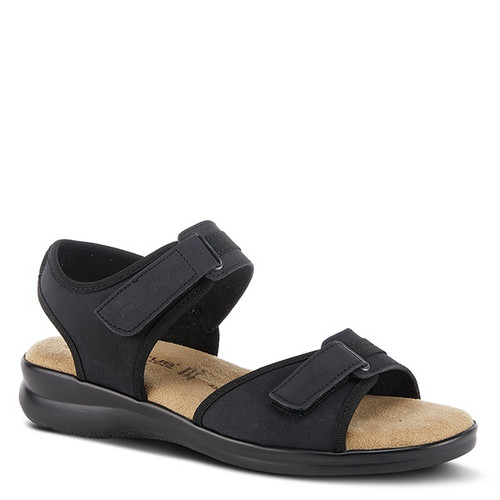 Black nubuck ankle strap sandal made in Italy.
