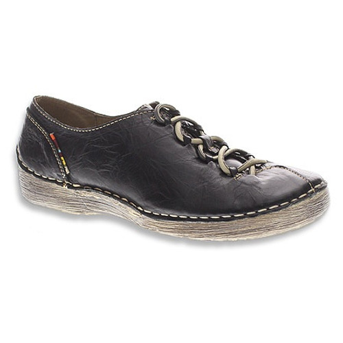 Black  leather slip on with decorative elastic laces.