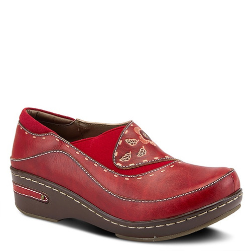 Red hand painted closed back clog with embossed floral design.