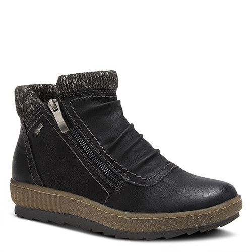 Black man made leather pull up bootie with duel zipper design.