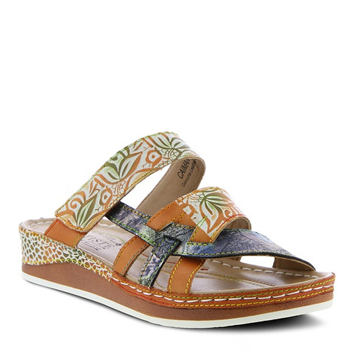 Camel multi hand painted leather slide sandal with contrasting stitch detail.