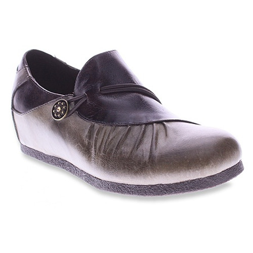 Grey slip on shoe with medial zipper entry.