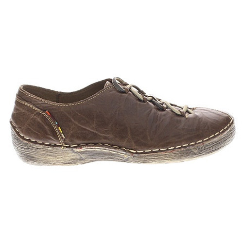 Brown  leather slip on with decorative elastic laces.