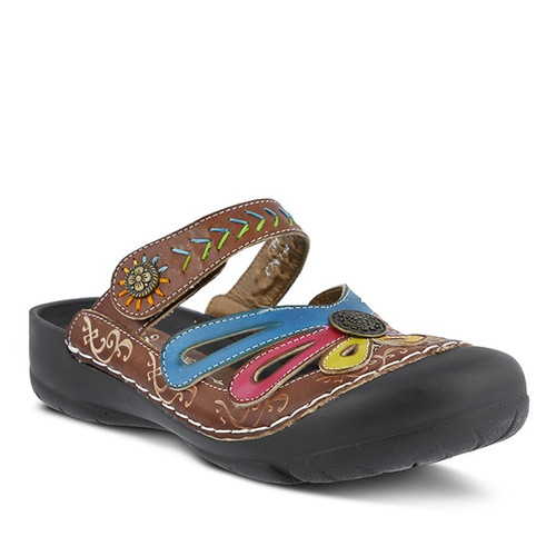 Hand painted brown multi leather clog with water friendly toe cap.