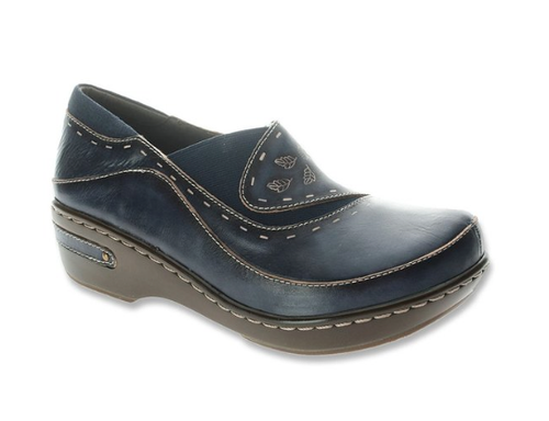 Navy hand painted closed back clog with embossed floral design.