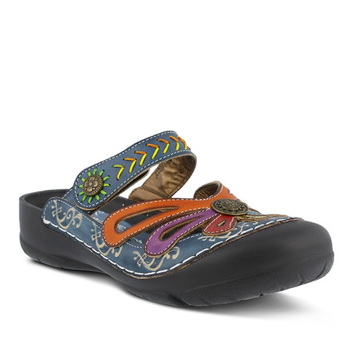 Hand painted blue multi leather clog with water friendly toe cap.