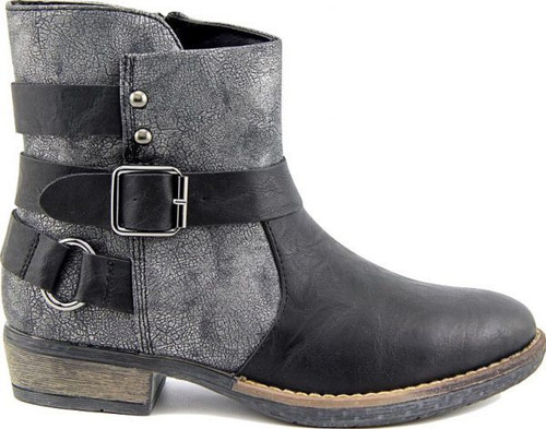 Black and pewter ankle boot with decorative buckle.