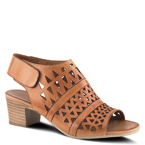 """Brown leather sandal with laser cutouts and 2"""" stacked heel."""