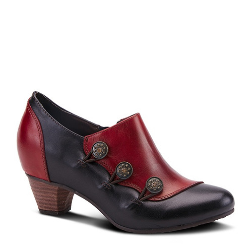 Red multi vintage inspired shootie with decorative buttons.