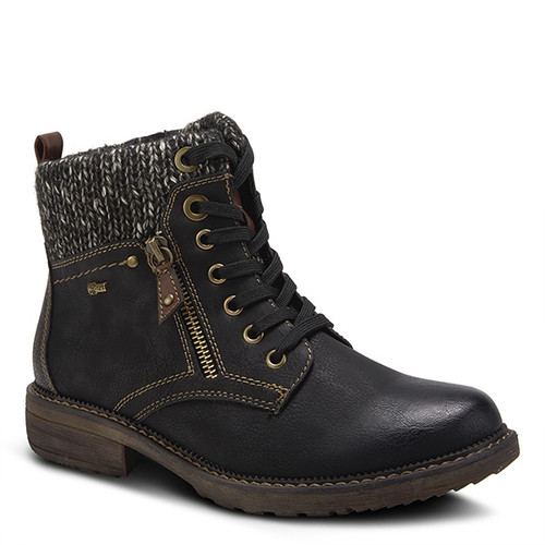 Black vegan leather water resistant pull on lace boot with zipper.