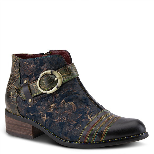 Blue multi bootie with hand painted leather and printed microsuede.