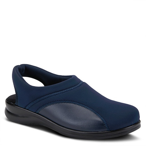 Navy lycra sling back clog made in Italy.