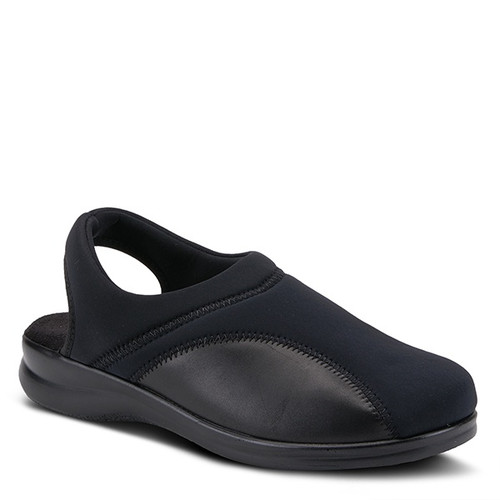 Black lycra sling back clog made in Italy.