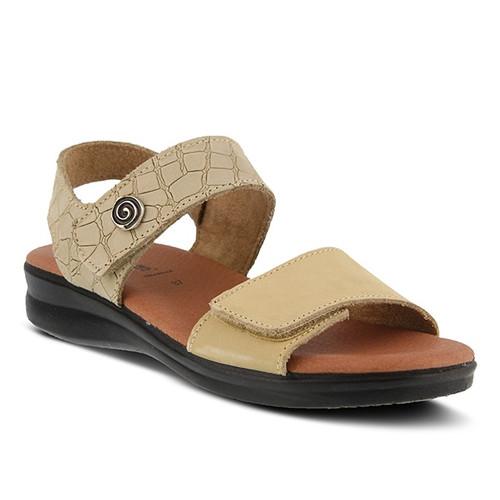 Beige nubuck croco style sandal with brushed metal swirl ornament.