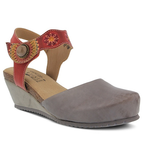 Gray quarter strap clog with floral embossed strap.
