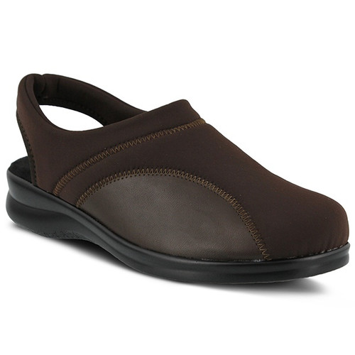 Brown lycra sling back clog made in Italy.