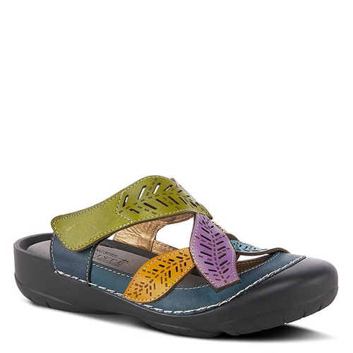 Navy multi colored slip on clog with laser etching.