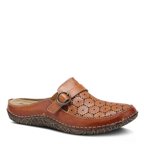 Brown hand painted leather clog with floral perforations.