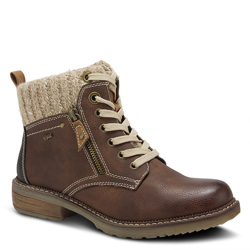 Brown vegan leather water resistant pull on lace boot with zipper.