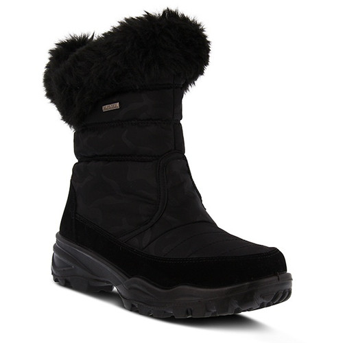 Black waterproof cold weather nylon boot with faux fur cuff.
