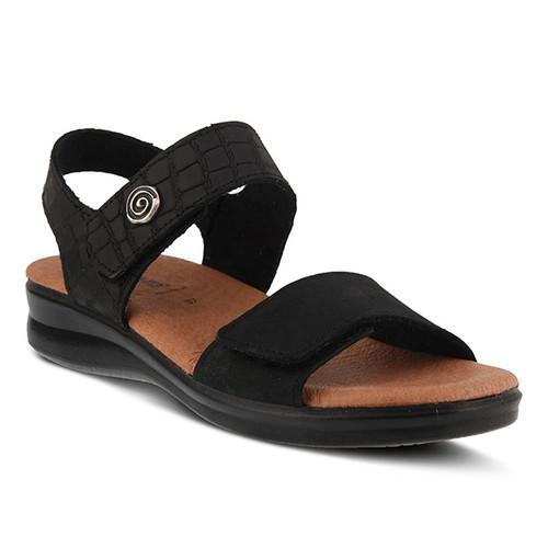 Black nubuck croco style sandal with brushed metal swirl ornament.