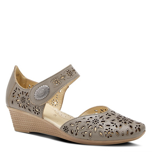 Grey mary jane wedge with perforated leather upper and ornate metal button.