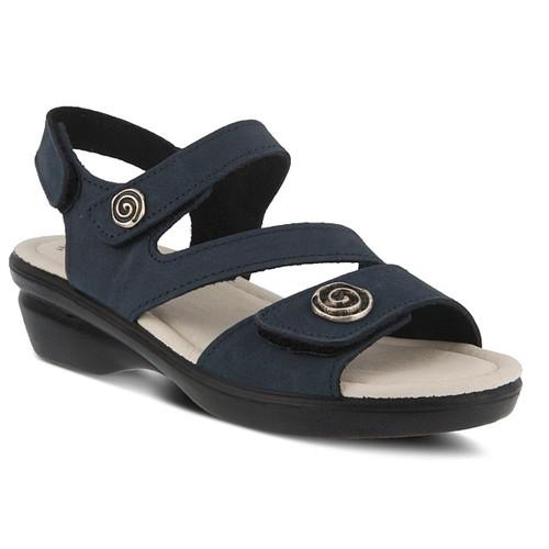 Navy nubuck leather ankle strap sandal with 3 adjustable straps.