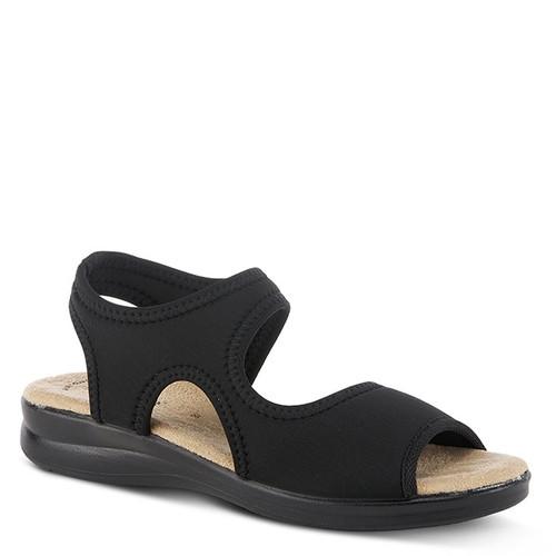 Black slip on lycra sandal with tonal stitch detail.