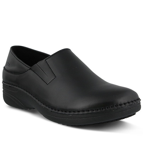 Black printed leather slip on with slip and oil resistant sole.