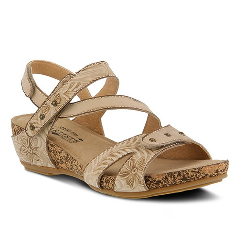 Light beige hand painted sandal with embossed floral design.