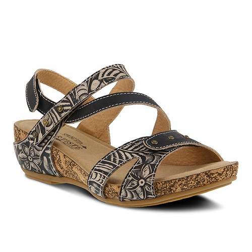 Black hand painted sandal with embossed floral design.